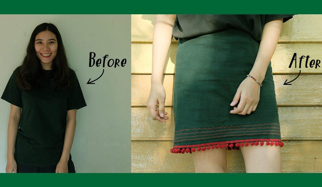 How to : แปลงโฉมเสื้อยืดเป็นกระโปรงทรงเอสุดชิค