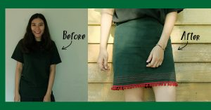 """How to : """"แปลงโฉมเสื้อยืดเป็นกระโปรงทรงเอสุดชิค"""""""