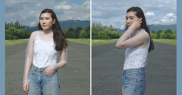 How to : เย็บเสื้อซีทรูแขนยาว