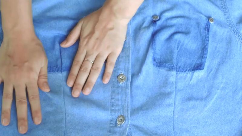 รีเมคเสื้อเชิ้ตยีนส์แขนสั้นเป็นชุดเดรสสุภาพ