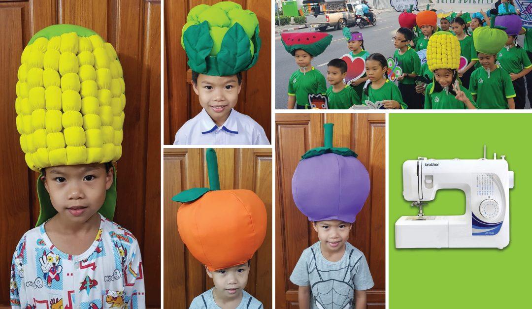 ผลงานเย็บจักรสุดครีเอท ของคุณแม่ เย็บหมวกผักผลไม้ ให้ลูกและเพื่อนเดินพาเหรด